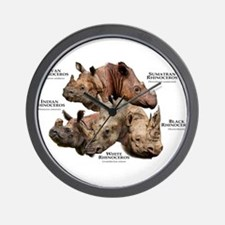 Rhinos of the World Wall Clock