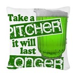 Funny Green Beer Day Woven Throw Pillow