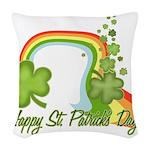 Happy St Patrick's Day Rainbo Woven Throw Pill