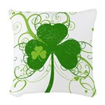 St Paddys Day Fancy Shamrock Woven Throw Pillow