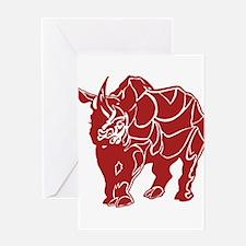 Red Rhinoceras Greeting Cards