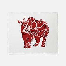 Red Rhinoceras Throw Blanket