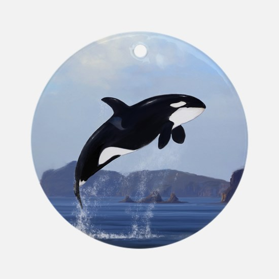 Orca Breaching Ornament (Round)