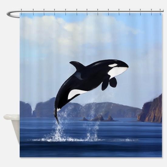 Orca Breaching Shower Curtain