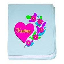 Knitting Heart baby blanket