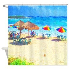 Cozumel Beach Palapas Seashore Shower Curtain