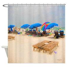 Beach Action Umbrellas Coastal Shower Curtain