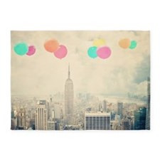 128257094 Balloons Over New York 5'x7'Area Rug
