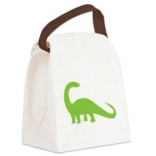 Green brontosaurus Dinosaur Canvas Lunch Bag