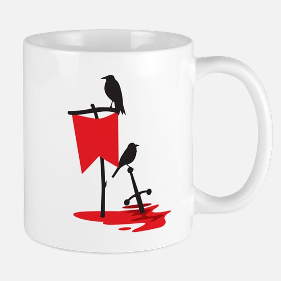 Crows on the battlefield RED Mugs