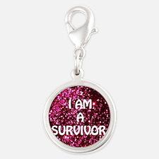 I AM A SURVIVOR Silver Round Charm
