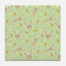 Spring Bunny and Carrots Tile Coaster
