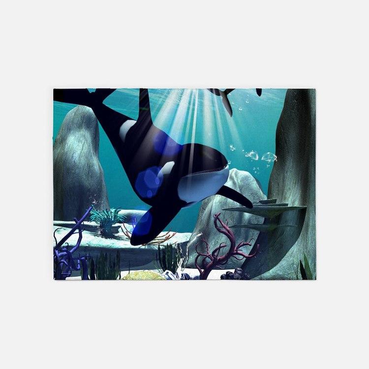 Underwater world 5'x7'Area Rug