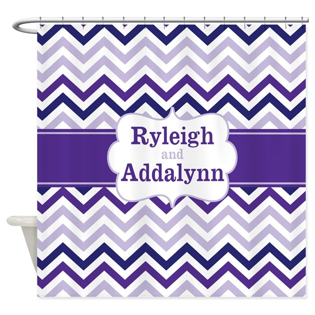 Purple Chevron Personalized Shower Curtain by ...