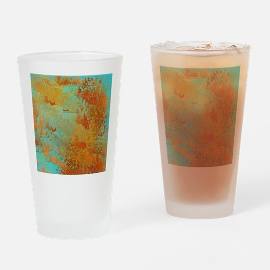 Turquoise and Copper Red Drinking Glass