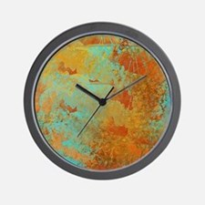 Turquoise and Copper Red Wall Clock