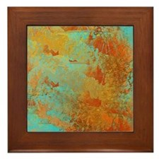 Turquoise and Copper Red Framed Tile