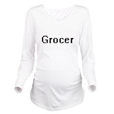 Grocer Retro Digital Long Sleeve Maternity T-Shirt