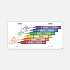 Colorful Crayons Aluminum License Plate