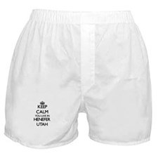 Keep calm you live in Henefer Utah Boxer Shorts