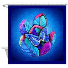 blue butterfly and feathers Shower Curtain