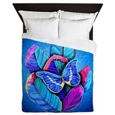 BLUE BUTTERFLY AND FEATHERS Queen Duvet