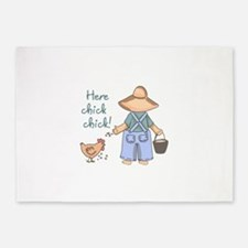 Here Chick Chick! 5'x7'Area Rug