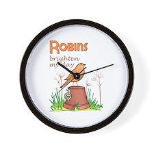 ROBINS BRIGHTEN MY DAY Wall Clock