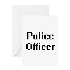 Police Officer Retro Digital Job De Greeting Cards