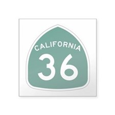 "Route 36, California Square Sticker 3"" x 3"""