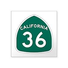 """Route 36, California Square Sticker 3"""" x 3"""""""
