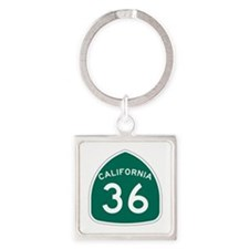 Route 36, California Square Keychain