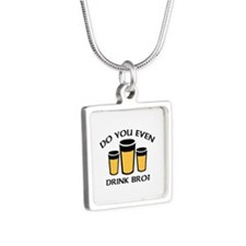 Do You Even Drink Bro? Silver Square Necklace