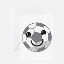 Cute kawaii soccer ball Greeting Cards
