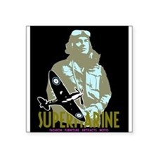 "Cute Supermarine spitfire Square Sticker 3"" x 3"""