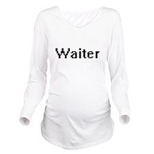 Waiter Retro Digital Long Sleeve Maternity T-Shirt