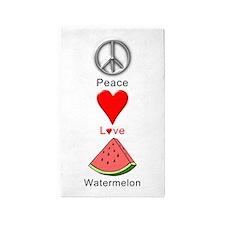 Peace Love Watermelon Area Rug