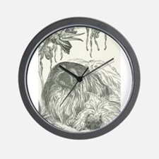 Pekingese, Orchids and Cockatiels Wall Clock