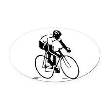 Cyclist Oval Car Magnet