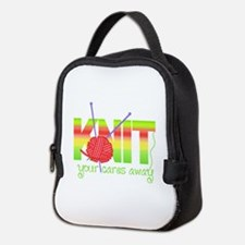 KNIT YOUR CARES AWAY Neoprene Lunch Bag