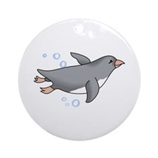 PENGUIN SWIMMING Ornament (Round)