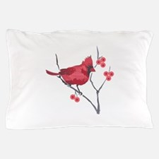 CARDINAL AND BERRIES Pillow Case