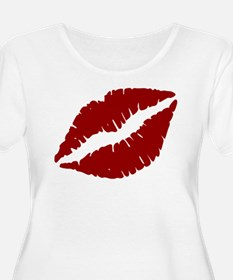 Red Lips Kiss Plus Size T-Shirt