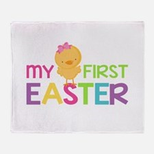 My First Easter Chick Girls Throw Blanket