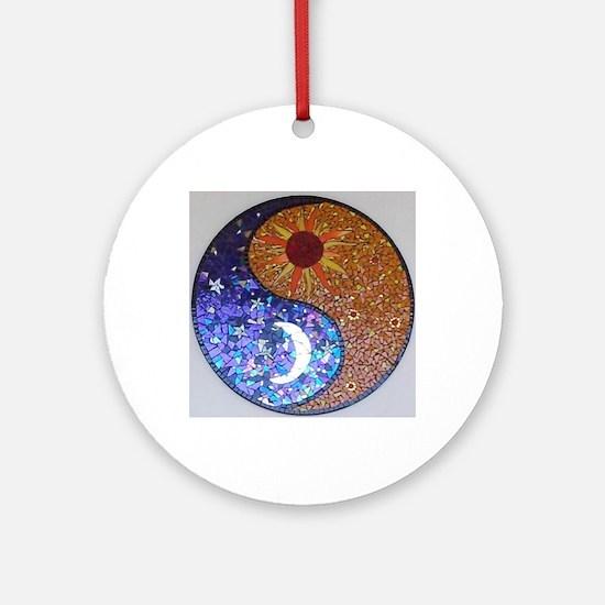 Mosaic Sun & Moon Round Ornament