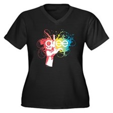 Glee Splatte Women's Plus Size V-Neck Dark T-Shirt