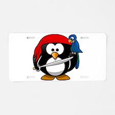Pirate Penguin Aluminum License Plate