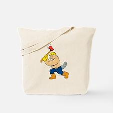 Beaver Lumberjack Wielding Ax Cartoon Tote Bag