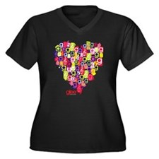 Glee Heart Women's Plus Size V-Neck Dark T-Shirt
