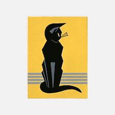 Art Deco Black Cat 5'x7'area Rug